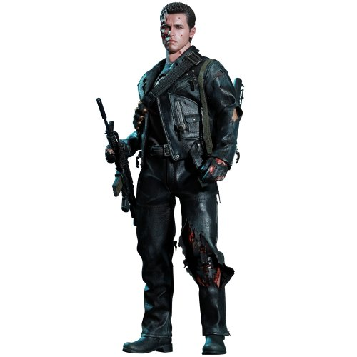 SIDESHOW/HOT TOYS DX SERIES 1:6 SCALE TERMINATOR 2 JUDGEMENT DAY BATTLE DAMAGED T-800 DELUXE ACTION FIGURE w/T-1000 STATUE NEW 901980