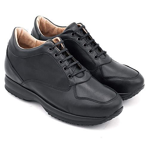 Zapatos con Alzas para Hombre. Aumentan Altura hasta 7 cm. Modelo Alpino (40, Negro)