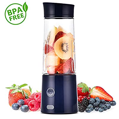 Portable Blender, TOPQSC Macaron Small Portable USB Rechargeable Juicer fruit Mixer for Shakes and Smoothies, Mute Personal Travel Single Serve Juicer Cup with 5200 mAh Rechargeable Battery for Juice Protein Shake Baby Food, FDA BPA Free, Conceal USB Port