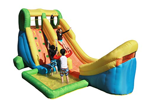 New Sportspower Inflatable Half Pipe Outdoor Water Slide with Splash Pool, Climbing Wall, Sprinkler,...