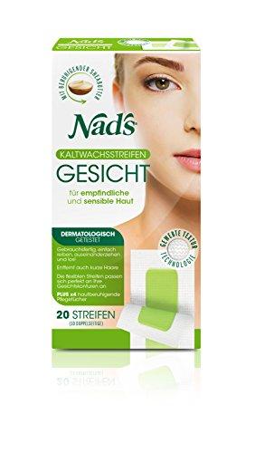 Nad's Kaltwachsstreifen - Haarentfernung für das Gesicht, alle Hauttypen, 20 Wachsstreifen + 4 Pflegetücher, Frauen