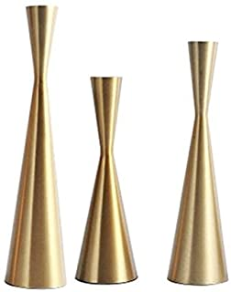 Set of 3 Brass Gold Metal Taper Candle Holders Candlestick Holders, Vintage & Modern Decorative Centerpiece Candlestick Ho...