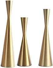 Set of 3 Brass Gold Metal Taper Candle Holders Candlestick Holders, Vintage & Modern Decorative Centerpiece Candlestick Holders for Table Mantel Wedding Housewarming Gift (Brass Golden, S+M+L/SET)