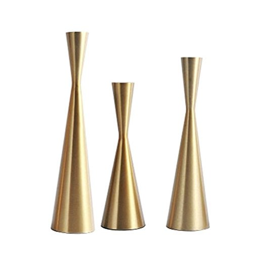 3 Vintage Brass Candle Holders