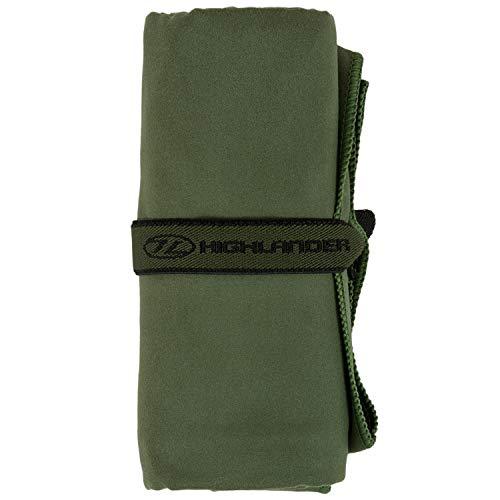 Highlander Schnelltrocknendes Mikrofasertuch mit Tragetasche große Auswahl an ultraweichen und saugfähigen Handtüchern, die Sich ideal für Camping, Schwimmen, Sport und Urlaub eignen (olivgrün, L)