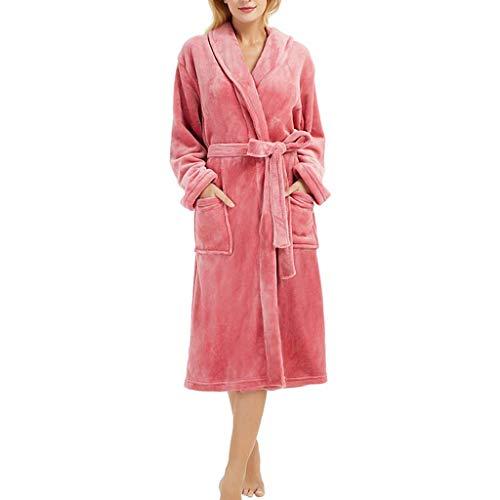 MRULIC Damen Bademantel Prato Mit V-Kragen Größen Winter Verlängert Plüsch Schal Langarm Robe Fleece Mantel Tasche Kuschelfleece Kapuze Flanell(A-Rot,5XL)