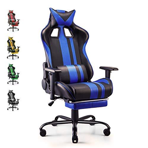 Soontrans Silla Gamer Ergonomica Silla Gaming Oficina Racing Sillon Gamer Despacho Profesional, con Reposapies, Soporte Lumbar Reposacabezas, Altura Ajustable Reposabrazos (Azul)