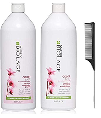 Colorlast Shampoo And Conditioner 33.8 Oz Duo Helps Protect Hair & Maintain Vibrant Color | for Color-Treated Hair And Black Comb Steel
