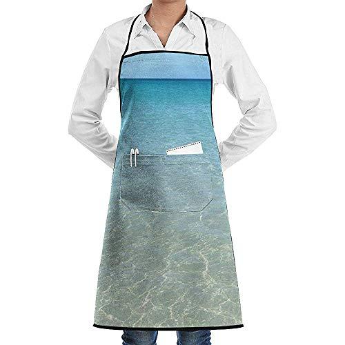 GWrix Mannen Vrouwen Bib Aprons Waiter Hostess Schort Waterdichte Vloeibare Drop Resistant Voor Restaurant, Salon, Chef Hawaii Ocean Schort Extra Lange Ties-Machine Wasbaar