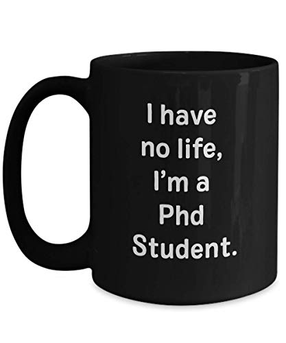 N\A Taza de doctorado Taza de café de cerámica Negra Divertida Novedad Regalo de mordaza para Mujeres Hombres Estudiante tesis doctorado