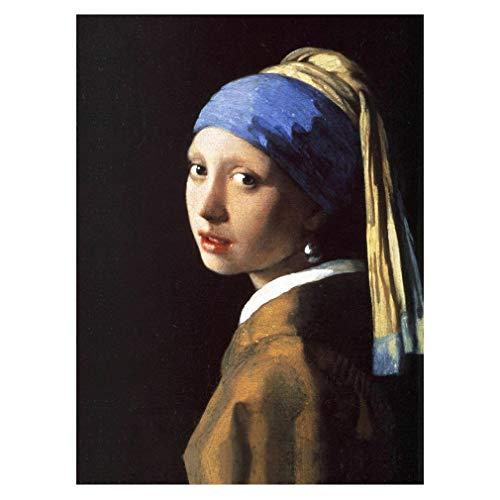 LegendArte Stampa su Tela - La Ragazza con L'Orecchino di Perla - Jan Vermeer cm. 50x70 - Quadro su Tela, Decorazione Parete
