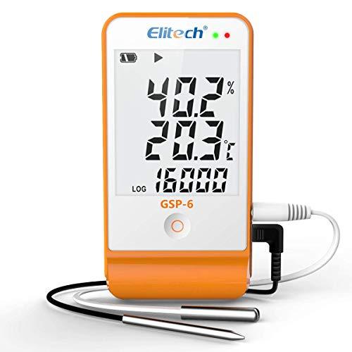 Elitech GSP-6 Temperatur Datenlogger Temperatur Luftfeuchtigkeits Datenlogger 16000 Punkte Aufnahmekapazität Detektor, kostenlose Software Daten-Expor