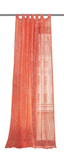 Home Fashion Wohnprofi Voile - Tenda Verona con Occhielli, Tessuto con Stampa, 245 x 140cm a Fiori Arancione