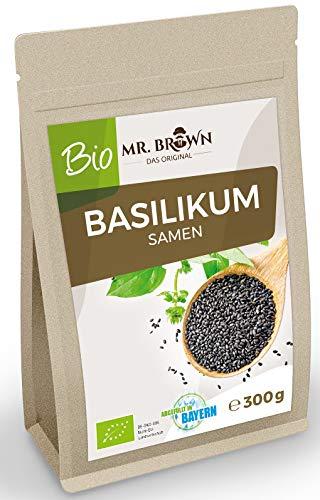 Mr. Brown BIO Basilikum Samen | kbA | Verwendung wie Chia Samen | abgefüllt in Bayern (300 GR)