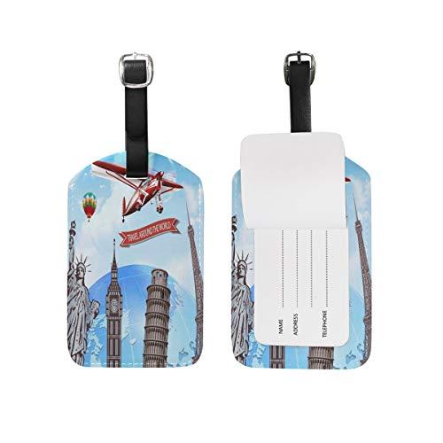 Etiquetas de equipaje de la Torre Eiffel Big Ben para maleta de viaje