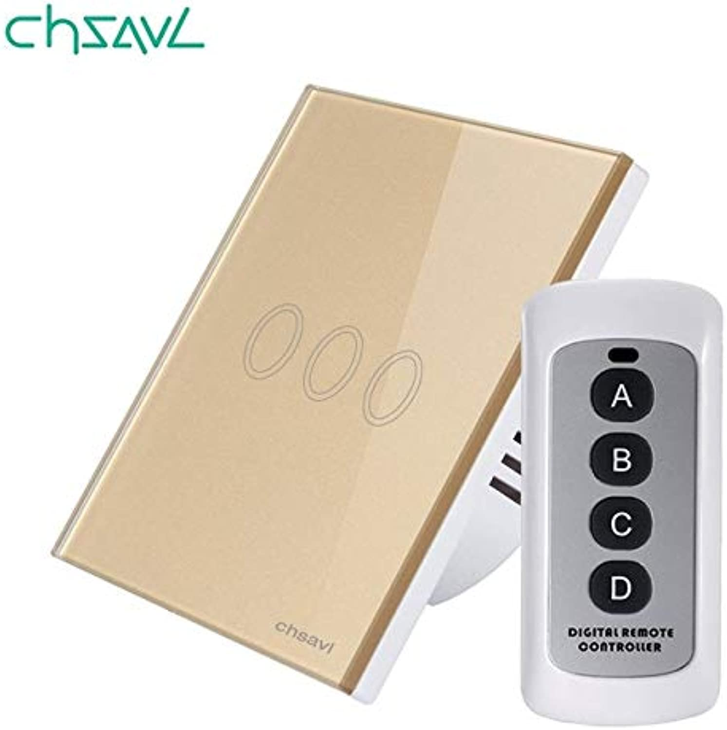 EU UK Standard Wireless Remote Control Light Switch 3 Gang 1 Way White Glass Panel Wall Touch Switch for RF433 Smart Home  (color  CHRF03D04 Glod, Num of Ga  3Gang, Standard  EU RF433 Function)