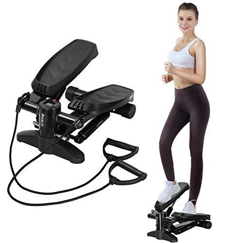 U`King Swing Stepper mit Gummiband und LCD-Display sowie bequemen Fußpedalen und Mini Stepper, Widerstand von Treppen und Indoor-Fitnessgeräten