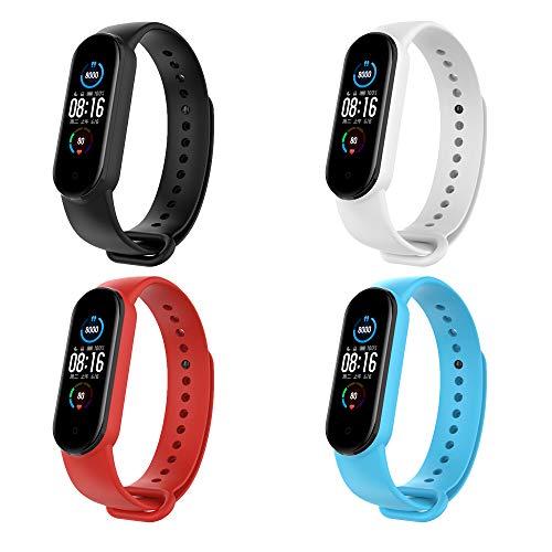 KOMI 2 correas de reloj compatibles con Xiaomi Mi Band 5, mujeres hombres hombres banda de reemplazo de deportes de silicona pulseras de fitness
