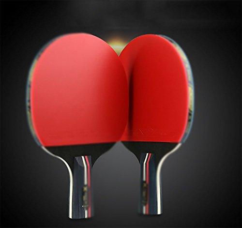 xianw Mesa de Ping Pong Padel Juego - Juegos de Raqueta de Tenis de Mesa Premium 2 paletas de Goma Suave,Raqueta de Palo de formación práctica - Raquetas de Paquete para la Familia casero del Juego-A