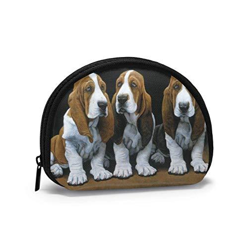 Bonito monedero para cachorros de basset hound para mujer con cremallera pequeña...