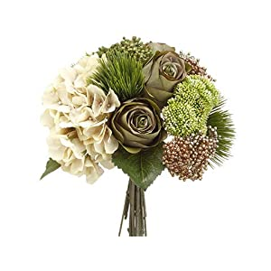 Arcadia Silk Plantation 13″ Hydrangea/Rose/Amaryllis Bouquet Eggshell Green (Pack of 6)