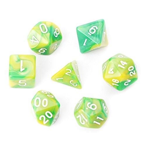 Richi - Juego de dados poliédricos para juego de mesa TRPG Calabozos y Dragones (7 unidades), D4-D20, Verde
