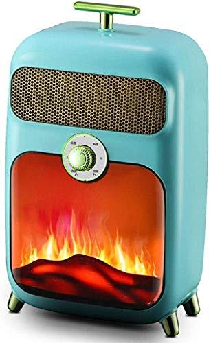 MissZZ Estufa eléctrica, Retro eléctrico 900W Calentador de Quemador de leña Estufa de Fuego W Efecto de Llama Fuego Chimenea Independiente Leña Luz LED Temperatura Ajustable, Azul
