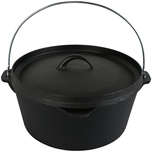 Sunnydaze Large Pre-Seasoned Cast Iron Deep Black Dutch Oven Pot with Lid and Handle - 8-Quart Metal Camping Cookware Dish - Camp Chili, Stew and Soup Pot