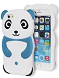 Bastex iPhone 6 PLUS (5.5 inch) Case, Heavy Duty Soft Silicone Protective Case - Blue and White Happy Panda Design Cover for Apple iPhone 6, 5.5 Plus