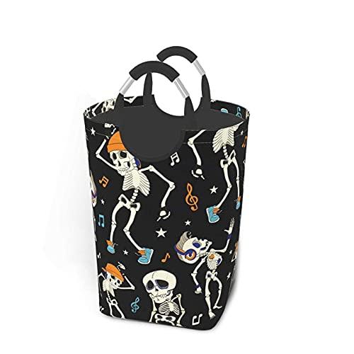 Cesto de lavandería Esqueletos danzantes Cesto de lavandería Papelera de Lavado Plegable Bolsa de Ropa portátil con Asas 50 L