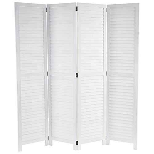 Mendler Paravent HWC-C30, Raumteiler Trennwand Sichtschutz, Shabby-Look Vintage, 170x160cm ~ weiß