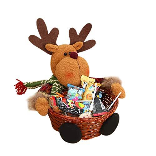 ACAMPTAR Feliz Navidad Canasta de Mimbre para Dulces Decoraciones Navide?As Canasta de Frutas Soporte para Alimentos DecoracióN para el Hogar, Alce