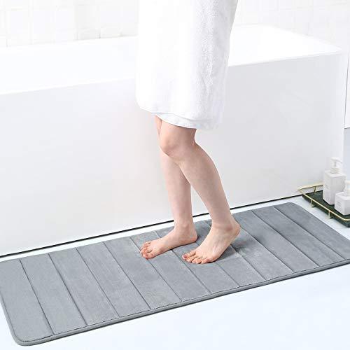 Memory Foam Soft Bath Mats - Non Slip Absorbent Bathroom Rugs Rubber Back Runner Mat for Kitchen Bathroom Floors 17' x 47', Grey