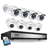 ZOSI Full 1080p 16 Channel Home Security Camera System, H.265+ 16
