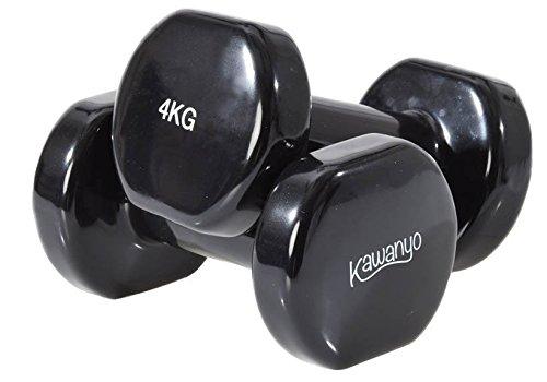 Kawanyo - Un paio di manubri in vinile per allenamento con i pesi, fitness e workout, 2 manubri corti resistenti, 2 x 4 kg.