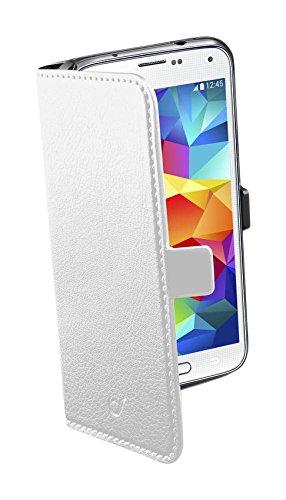 Cellular Line BOOKESSENGALS5W Kunstleder Buchklapptasche für Samsung Galaxy S5 (Magnetverschluss, Buchformat, volle Bedienbarkeit) weiß-Sortiment