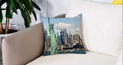 Pillowcase,Cuscini da Letto,New York, Statua della Libertà nel porto di New York Stampa della città famosa immagine culturalCuscini Per Copricuscini Divano Caso Federa Home Decorativi 45x45 Cm