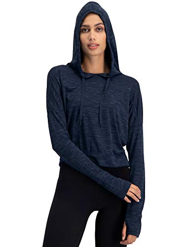 Three Sixty Six Dry Fit Crop Tops for Women - Long Sleeve Crop Top Hoodie - Women's Workout Pullover Top with Thumb Holes Denim Blue