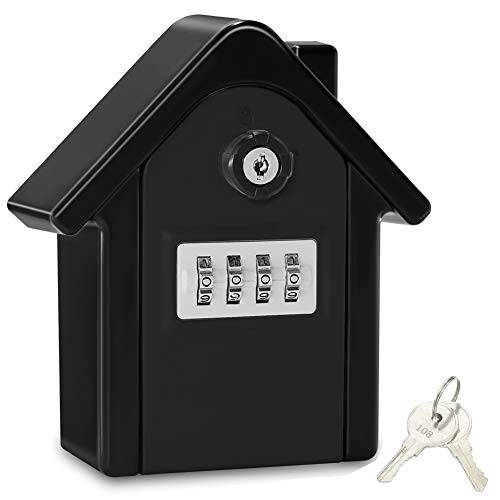 Caja Seguridad Llaves Grande Caja Llaves Combinacion Key Safe Box with 4 Dígitos Código, Almacenamiento Seguro para Llaves Caja Guarda Llaves Pared para Exterior, Casa, Garaje, Escuela (Negro-02)