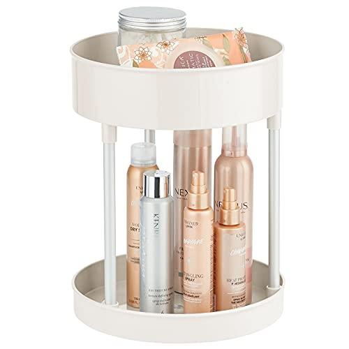 mDesign Kosmetik Organizer – zweistöckige Make-up Ablage mit Drehtellern – Baderegal stehend – für Kosmetik- & Badeaccessoires – cremefarben und silberfarben