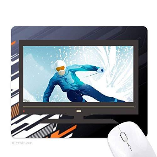 illustration de sport d'hiver de skis et de bâton de ski tapis de souris informatique bureau de caoutchouc antidérapant.