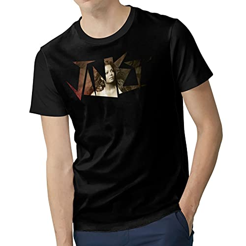 Man Polyester Soft Short Sleeve top J`anet&J`ackson Fashion Round Neck tee Shirt Suitable for Four Seasons X-Large Black