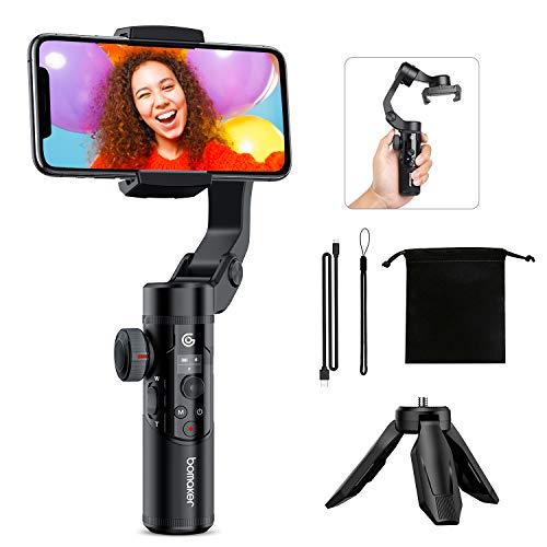 BOMAKER 3-Achsen Smartphone Gimbal Handy Stabilisator mit Stativ, faltbar tragbar Handheld Stabilizer mit OLED Bildschirm, 340° Drehung, Doppelfokussteuerung, AI Verfolgung, Anti-Shake, Zeitraffer