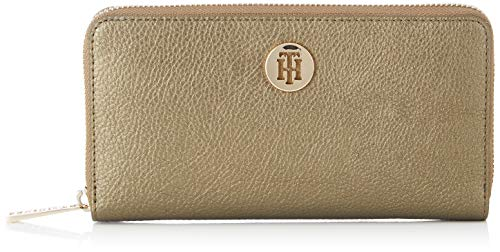 Tommy Hilfiger Damen Th Core Lrg Za Wallet Geldbörse, Mehrfarbig (Gold Metalic & Black), 2.5x10.199999999999999x17.8 centimeters