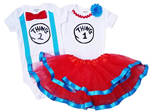 Boy Girl Twin Outfits Thing 1 and Thing 2 Tutu (18M Short Sleeve)