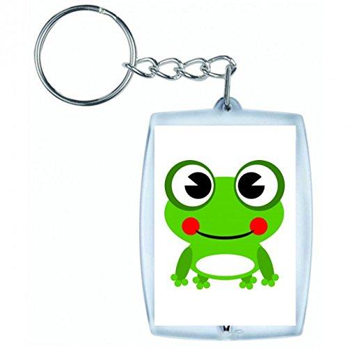 Druckerlebnis24 Schlüsselanhänger - Frog- Amphibien- Tier- Grün- Glücklich- Lächelnd- Frosch - Keyring - Taschenanhänger - Schlüsselring