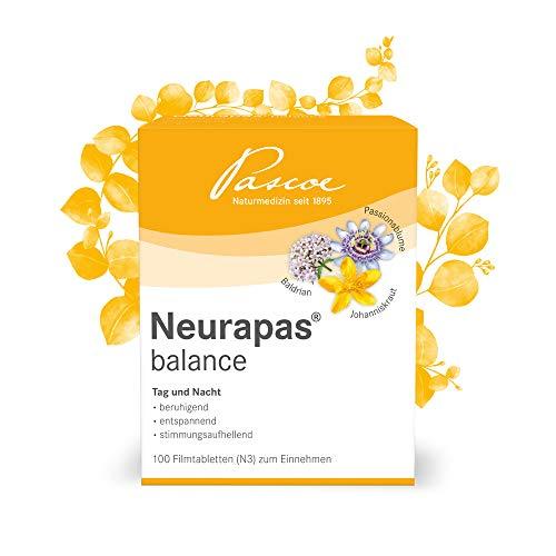 Pascoe® Neurapas balance: mit Johanniskraut, Passionsblume & Baldrian - stimmungsaufhellend, entspannend & beruhigend - bei leichten depressiven Verstimmungen - rein pflanzliche Wirkstoffe - 100 Tabletten