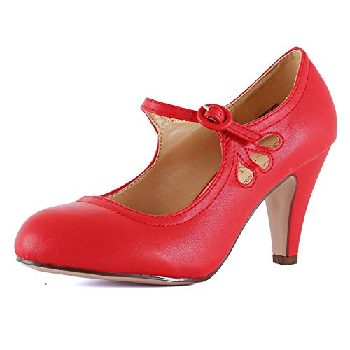 Womens Vintage Mary Jane Pumps Low Kitten Heels Retro Round Toe Shoe with Ankle Strap (6 M US, Red Pu)