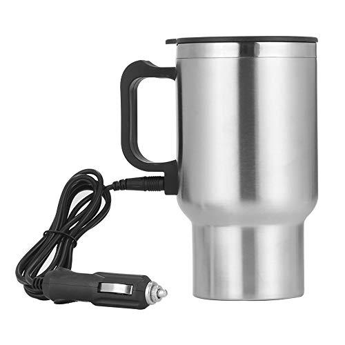 YSSMAO 500 ml 12V Taza portátil Taza de Tetera Taza de café de Acero Inoxidable eléctrico con el Cable del Encendedor de cigarros El Agua del Coche Mantener el hervidor más cálido
