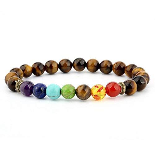 Bracelet Yoga Chakra,Le Bouddhisme Chakra 7 Réduire La Pression Tiger Eye Stone Bangle Bracelet Balance Natural Energy Reiki Lucky Perles Bracelets De Corde Extensible Cadeaux Bijoux Homme Femme Uni